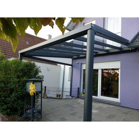 Breite: 7,00 m | ALU Terrassenüberdachung mit VSG–Glas 8,76 mm (Tiefe wählbar)